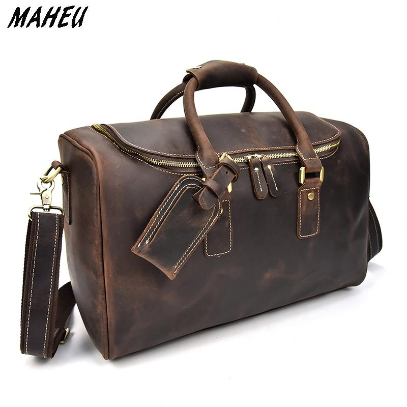 Men Vintage Genuine Leather Travel Bag Red Zip Around Crazy Horse Leather  Travel Duffle Women Shoulder Bag Cowhide Boston Bags Suitcases From  Sunsnoww b5dd4ec53c90d