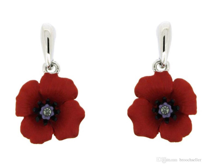 Red Diamante Poppy Dangle Earrings XFmfZiL6