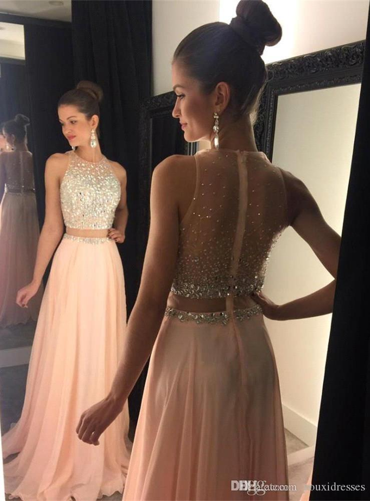 aaa62344e06 Sexy Beaded Crystal Two Piece Prom Dress 2018 New Off The Shoulder O Neck  Party Pageant Formal Pink Prom Gown Custom Short Tight Prom Dresses  Strapless Prom ...