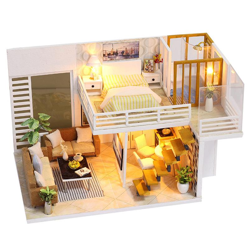 DIY Miniature Wooden Doll House Furniture Kits Toys Handmade Craft Model  Kit Dollhouse With LED Light Toys Gift For Children Doll House Clearance  Little ...