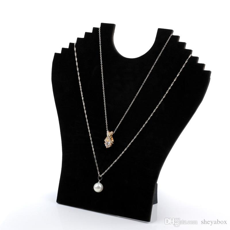 Jewelry Necklace Chain Display Stand Cardboard Black Velvet Elegant Foldable Jewellery Displays for Shop Shelf Boutique Kiosk Crafts Market