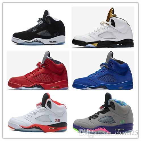 4c7fa8c79b13 Nuevo 5s V Olympic metallic Oro Blanco Cement Man Zapatillas de baloncesto  OG Negro Metallic red blue Suede Fire Red Sport Sneaker