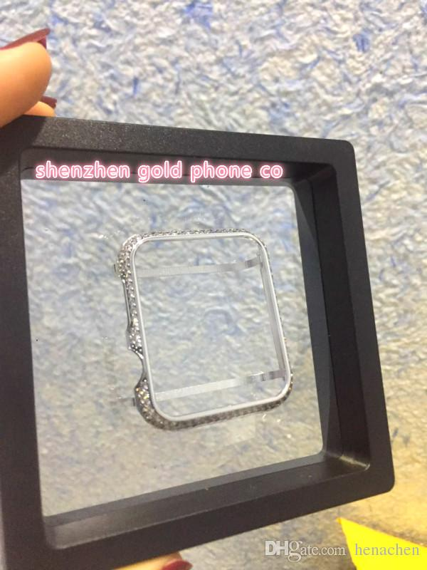 2018 newest hot Wholesale platinum plated with diamond real crystal Aluminum Watch Case bumper frame case housing for Apple Watch 38mm 42mm