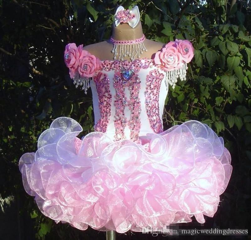 2018 Ball Gown Short Flower Girl Dresses Organza Mini Infant Toddler Dresses Beads Hand Made Flowers Ruffles Cupcake Girls Pageant Dresses