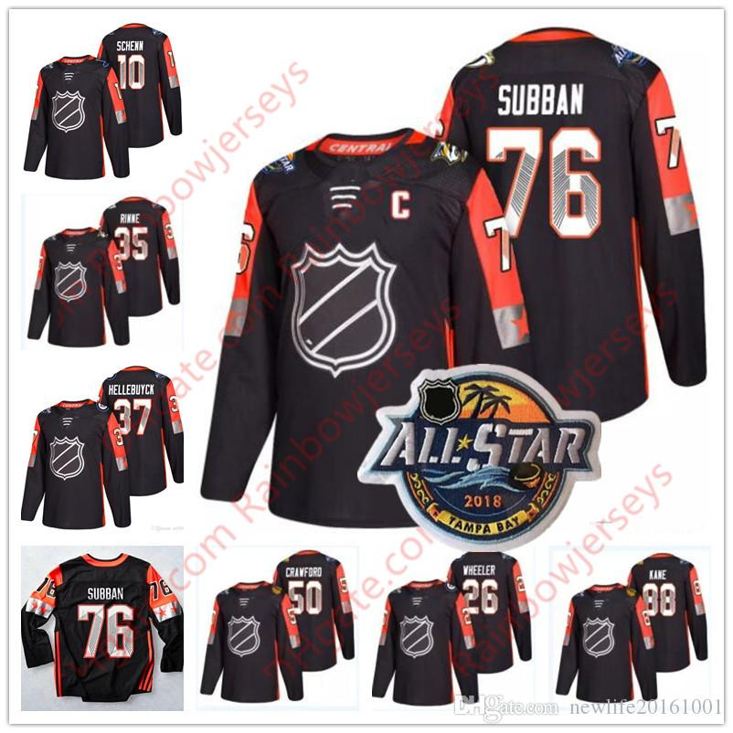 huge discount 2266c 57916 Custom 2018 All-Star Game #76 P.K. Subban 88 Patrick Kane 35 Pekka Rinne 12  Eric Staal Any Name Number Black Central Division Hockey Jerseys
