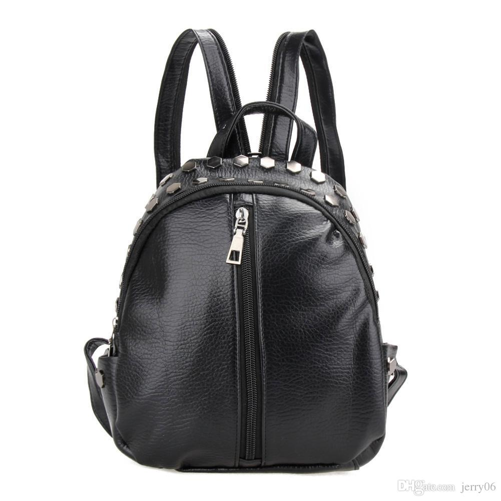 881a32b08e9a Fashion Women Leather Backpacks Rivet Schoolbags For Teenage Girls Female  Bagpack Lady Small Travel Backpack Mochila Black Bags Cloth Bags Childrens  ...