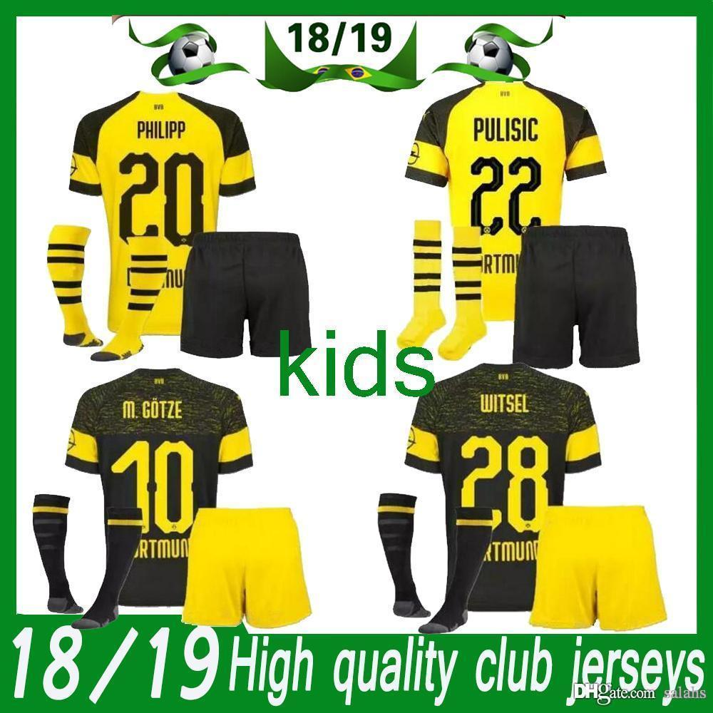 Compre Dortmund Kids Kit 2018 19 INICIO Yellow Kit Y AWAY Kit De Fútbol  Negro Camisetas De Fútbol REUS PULISIC Kit De Niños SOCCER JERSEY + PANTS +  SOCKS A ... 5e4911101951d
