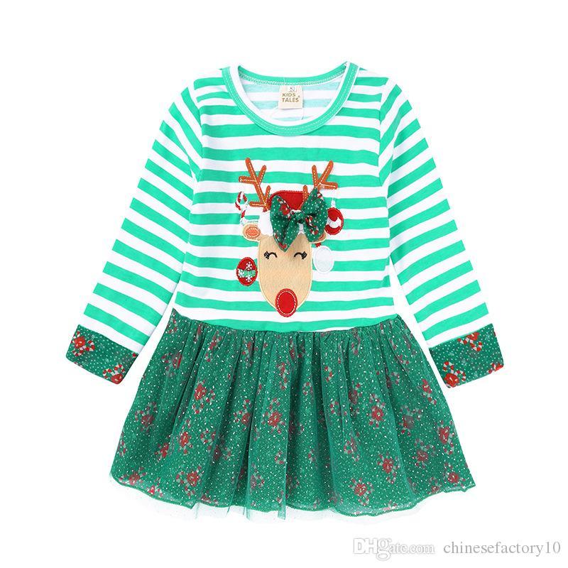 Großhandel Baby Mädchen Weihnachten Elch Kleid Streifen Langarm Tüll ...