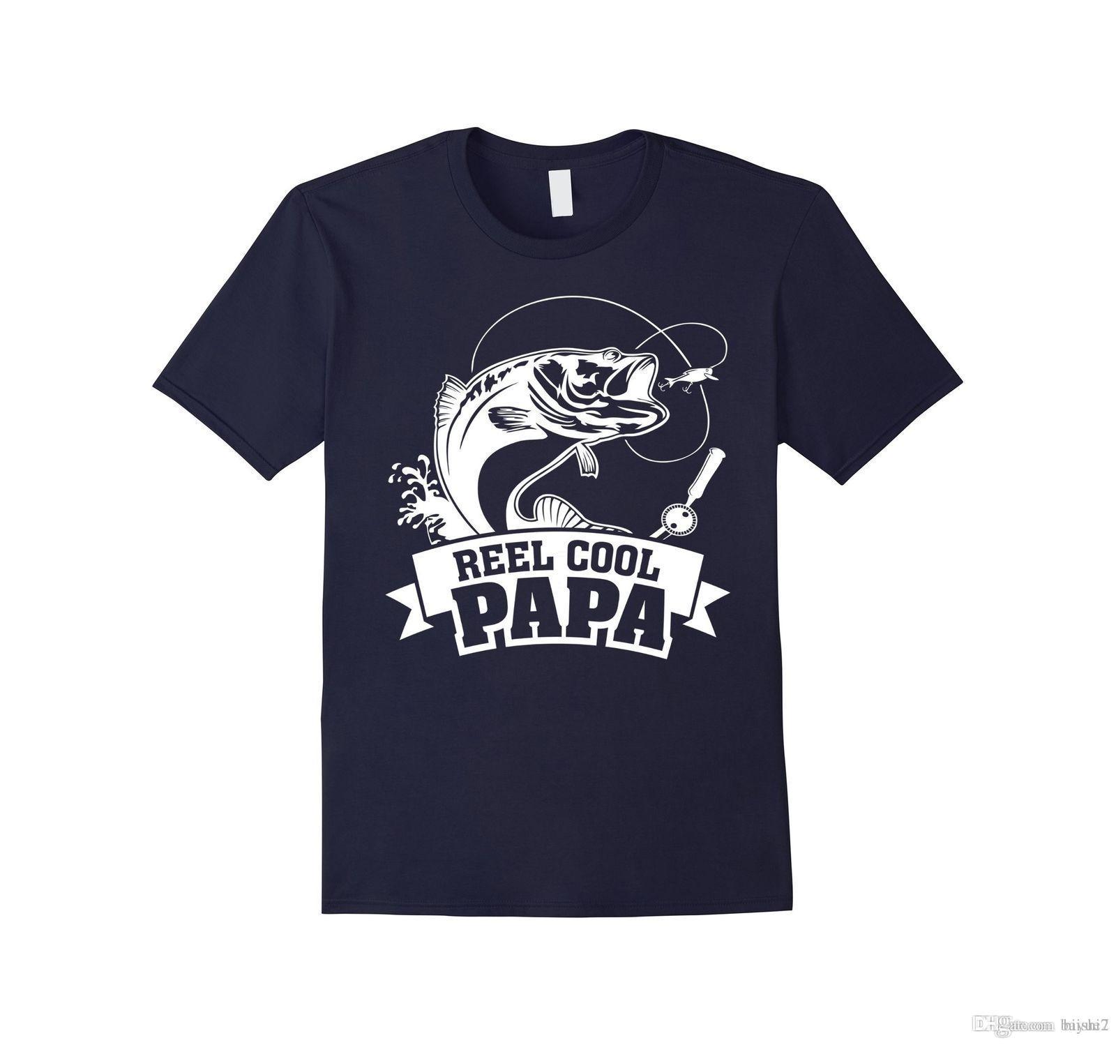 b2712466 Mens Reel Cool Papa Fishing Grandpa Father's Day Gift T-Shirt XL Navy  Fashion Men T Shirts Free Shipping