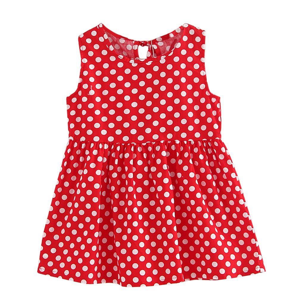 Vestido rojo de puntos blancos