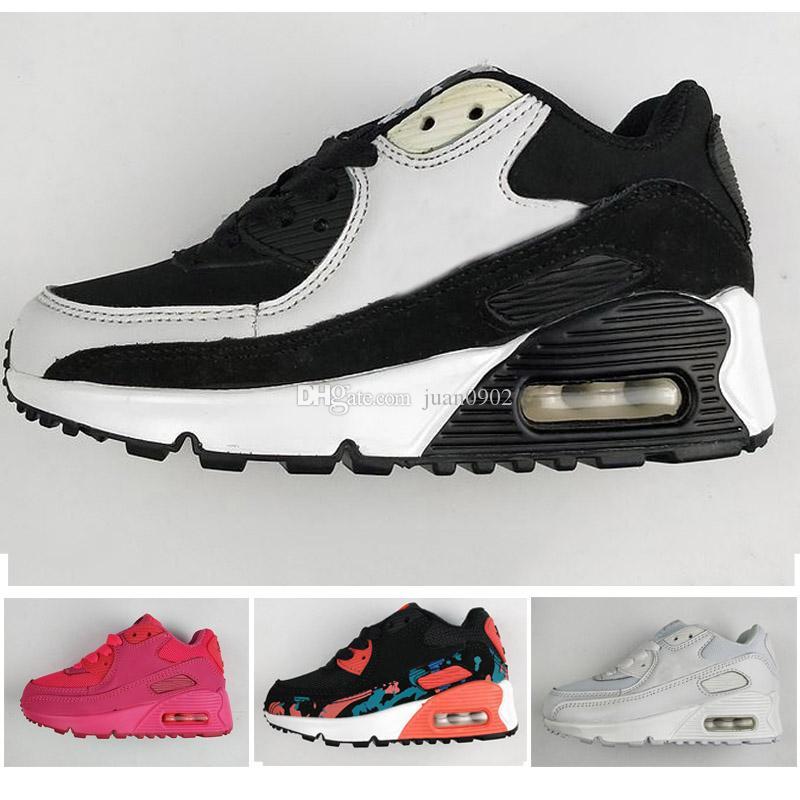 low cost 795c9 8b1ff Acheter Nike Air Max 90 Bébé Enfants Sneakers Chaussures Classique 90  Garçon Fille Enfants Chaussures De Course Noir Blanc Sports Trainer Air  Coussin ...