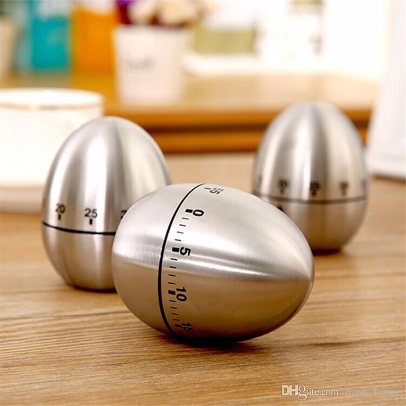 Ovo Mecânico Temporizador De Cozinha Cozinhar Contagem Regressiva 60 Minutos de Alarme De Aço Inoxidável Cozinhar Relógio Ferramenta Ovo Temporizador De Cozinha