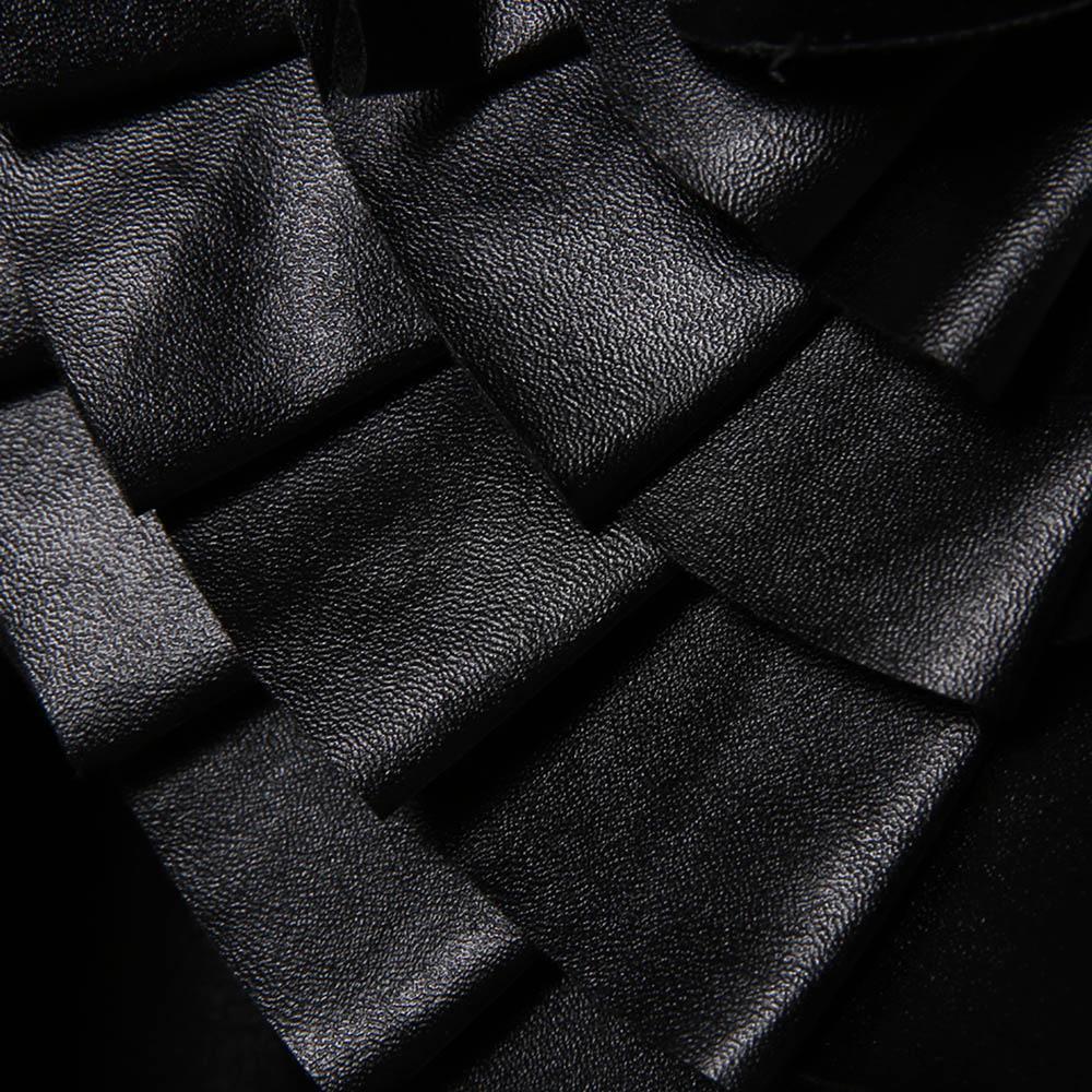 Kadın Pu Deri Bluz Gömlek Aplikler Çiçek Düz Serin Uzun Fener Kollu Siyah Standı Yaka Modern Moda Gömlek Tops