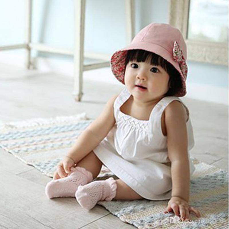 9b7ef43ffac Children Two-sided Fisherman Caps Cute Cotton Girls Sun Hats Infant ...