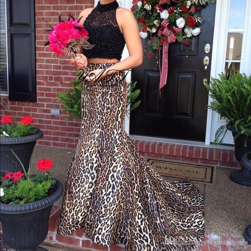 2021 Dos piezas Black Lace Top Sexy Leopard Print Vestidos de prom Play Possed Cuello alto Tren Formal Tren Sirena Vestido de noche Vestido de fiesta
