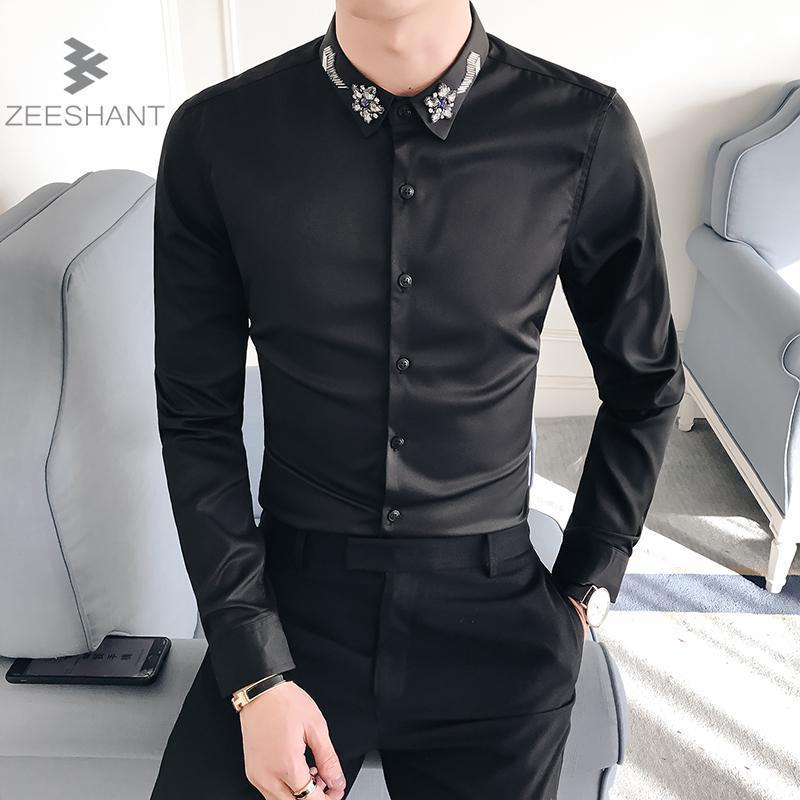 e796e98004 Compre Zeeshant 2018 Buen Remiendo Negro Botón Turn Down Cuello Manga Larga  Negocios Formal Hombre Camisas De Vestir Sólidos Hombres Top A  37.79 Del  ...