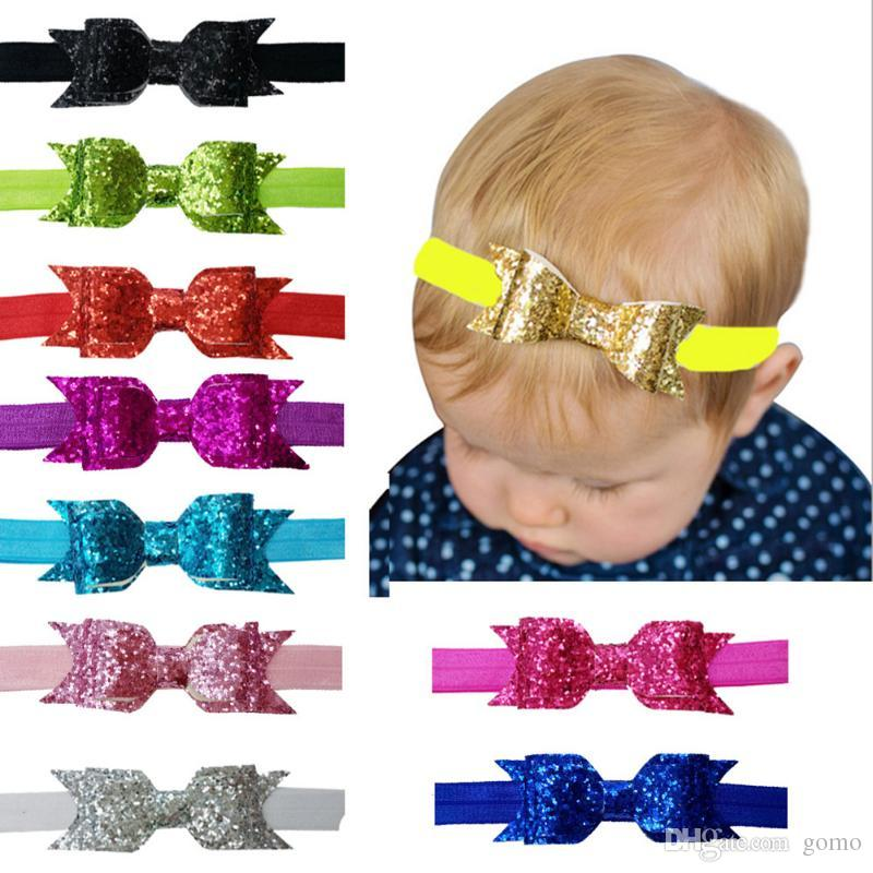 10pcs Bow Elastic Headband For Baby Kids Glitter Sequin Solid Bow Hair Band Accessories Infant Bandeau Bebe Fille Gift Choice