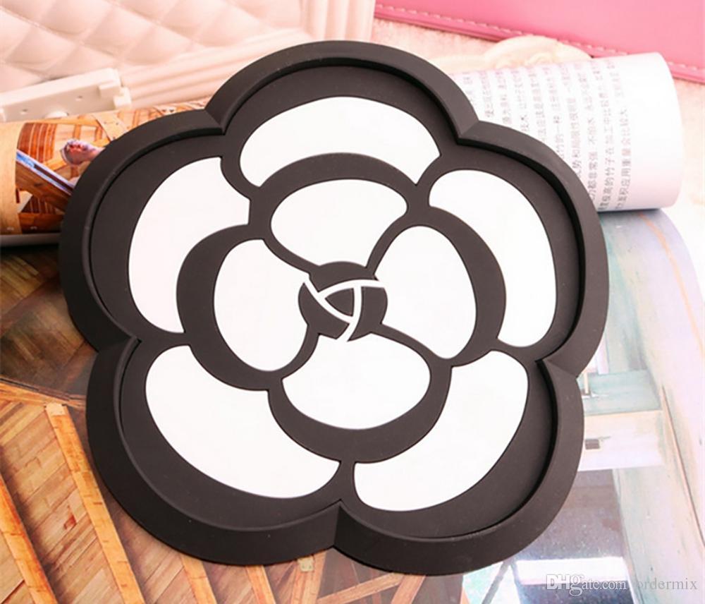 Car Ornament PVC Camellia Anti Slip Mat Automobiles Interior Dashboard Decoration Non-slip Pad Accessories For Mobile Phone GPS