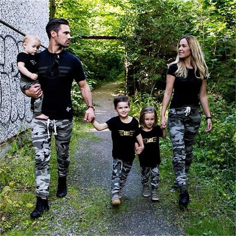 Hot sell Women Man Kid Baby Clothes Short Sleeve Tops T-shirt Pants Camo Outfit Family Matching Set