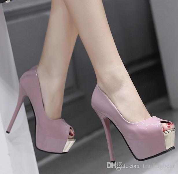 57c09775a5 Sexy Red Bottom Shoes Pink Patent PU Leather Peep Toe Platform Pumps Women  Designer High Heels Black Size 35 To 40 Mens Dress Boots Men Sandals From  ...