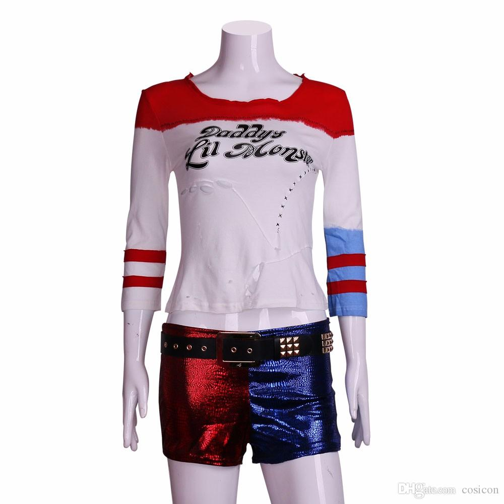 42d4aaeec5e9 2016 Movie Cosplay Suicide Squad Harley Quinn Costume T Shirt Daddy's Lil  Monster T-Shirt Joker Cosplay Costumes Full Set
