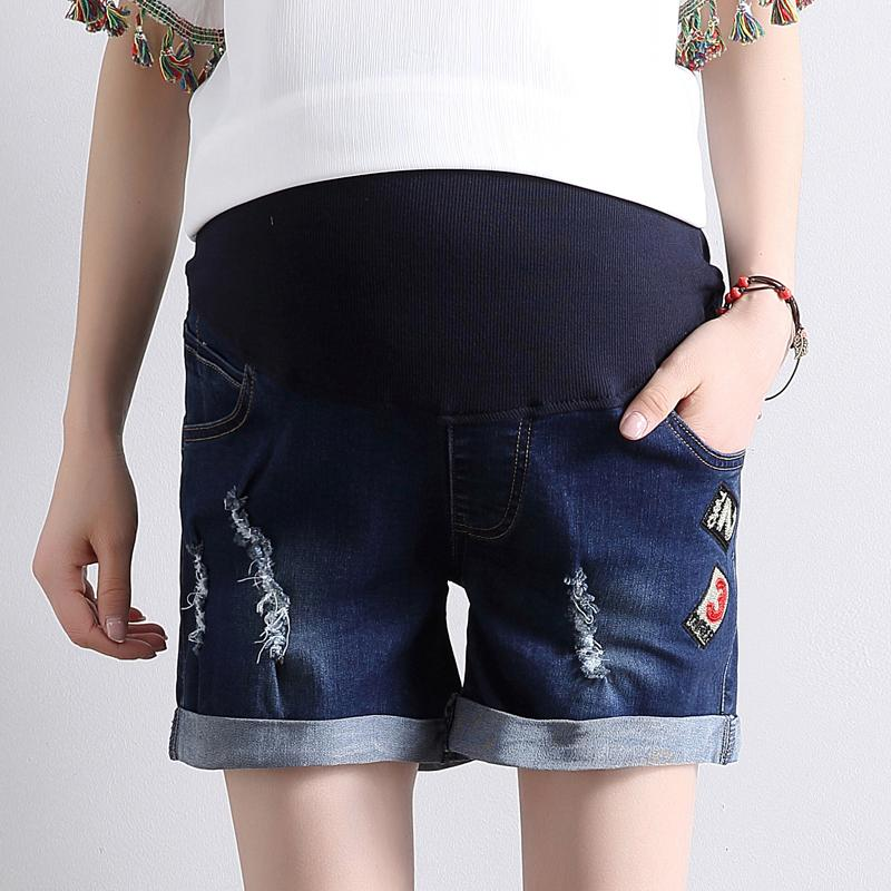86d9dc05a0c 2019 Maternity Clothes Fashion Summer Denim Maternity Elastic Waist  Pregnant Shorts Jeans For Pregnancy Fashion Belly Shorts From Dejavui