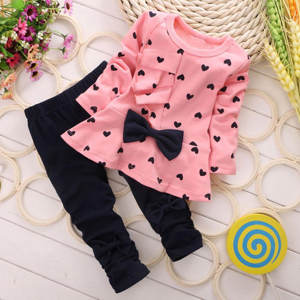 b57baf8e9 Compre Ropa De Bebé Para Niñas Pequeñas Conjuntos De Primavera Otoño Ropa  De Bebé Niña Camiseta + Traje De Pantalón Chándal Para Niños Niños Por 1 2  3 4 ...
