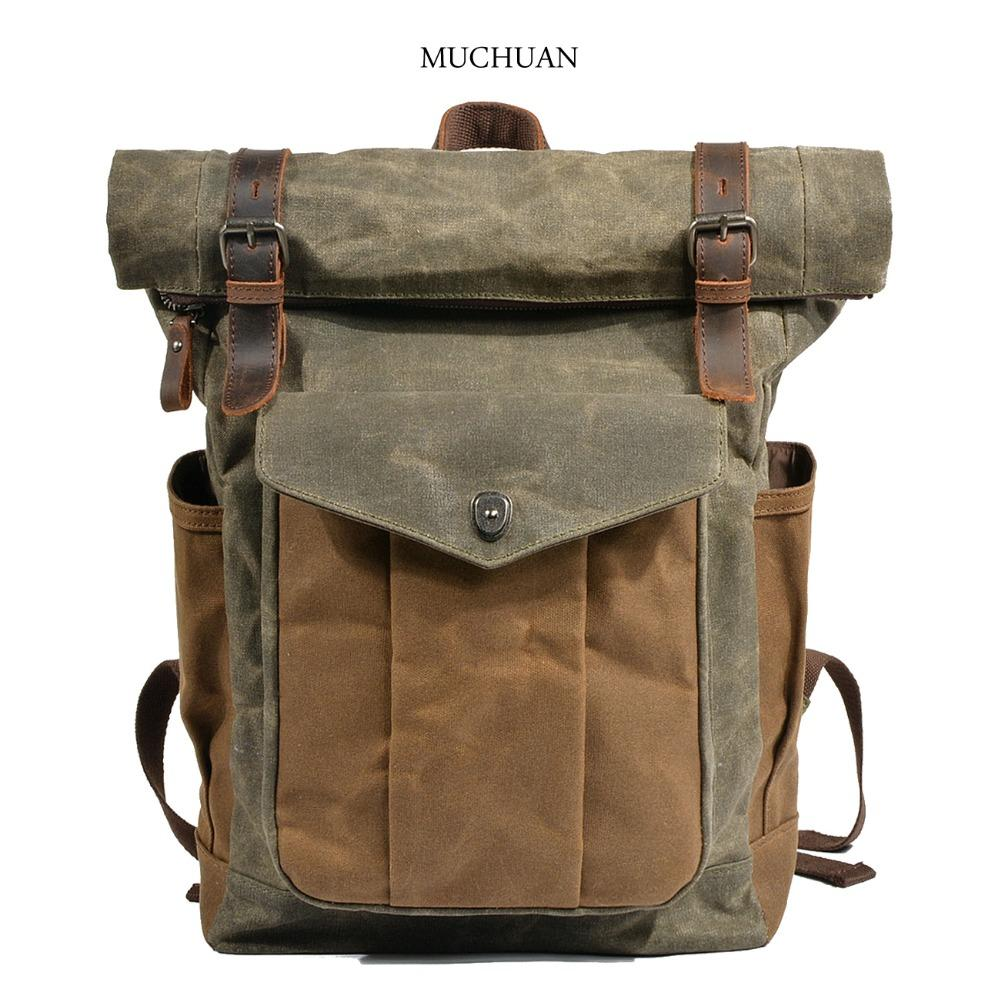 34659465e9a0 Muchuan Men And Women Tarpaulin Large Capacity Canvas Backpack Book Bag  Outdoor Mountaineering Bag Oil Wax Cloth Mail Backpacks For Kids Backpack  With ...