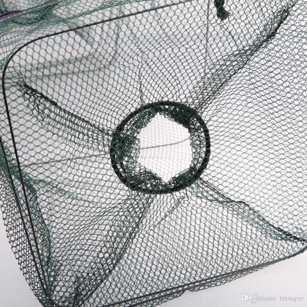Vendita calda 48 ** 22 * 22 cm Pieghevole Rete Da Pesca Cattura Gambero Granchio Minnow Pesce Esca Trappola Cast Dip Rete Nylon Rete di Accessori la Pesca