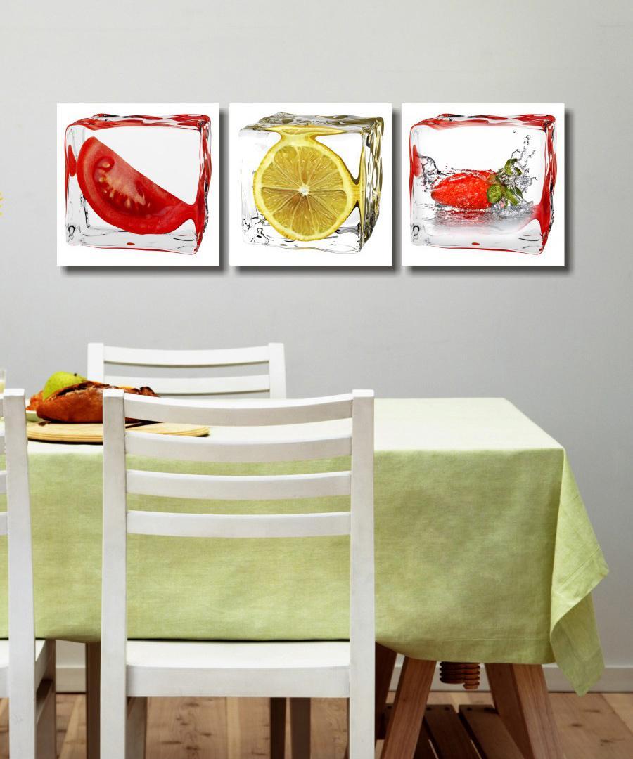 Compre 3 Paneles Impresos Fruta Limon Pintura De La Lona Cuadros