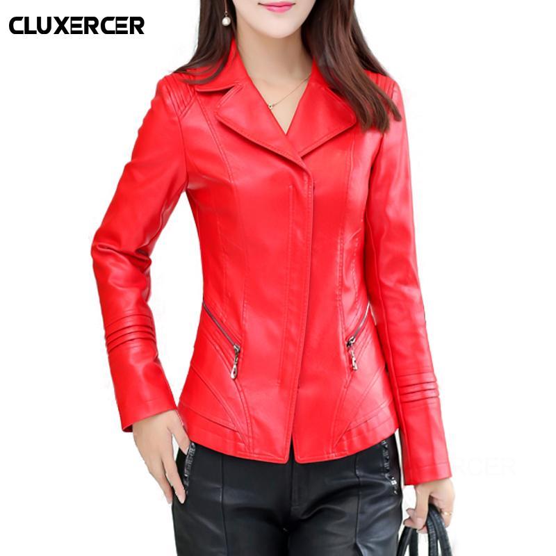 super popular bc3a0 4630e Frauen Lederjacken 2018 Neue Damen Rote Lederjacken Und Mantel Plus Größe  4XL Weibliche PU Dünne Kleidung Oberbekleidung