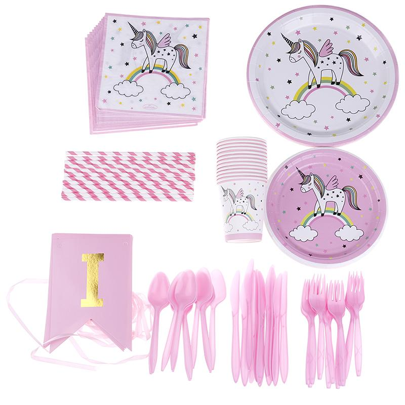 2019 Unicorn Party Kits 1st Birthday Paper Cups Plates Napkin Decorations Kids Baby Shower Supplies From Luzhenbao524