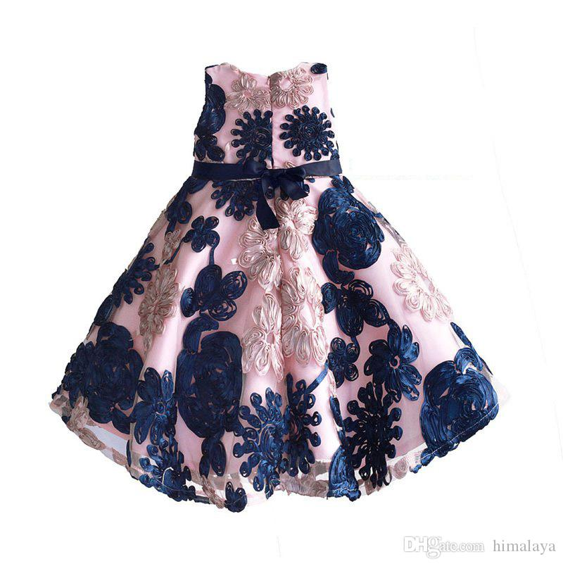2017 childrens pink discifloral princess dresses kids party dress baby girls bow dress toddler wedding dress for 3-8T