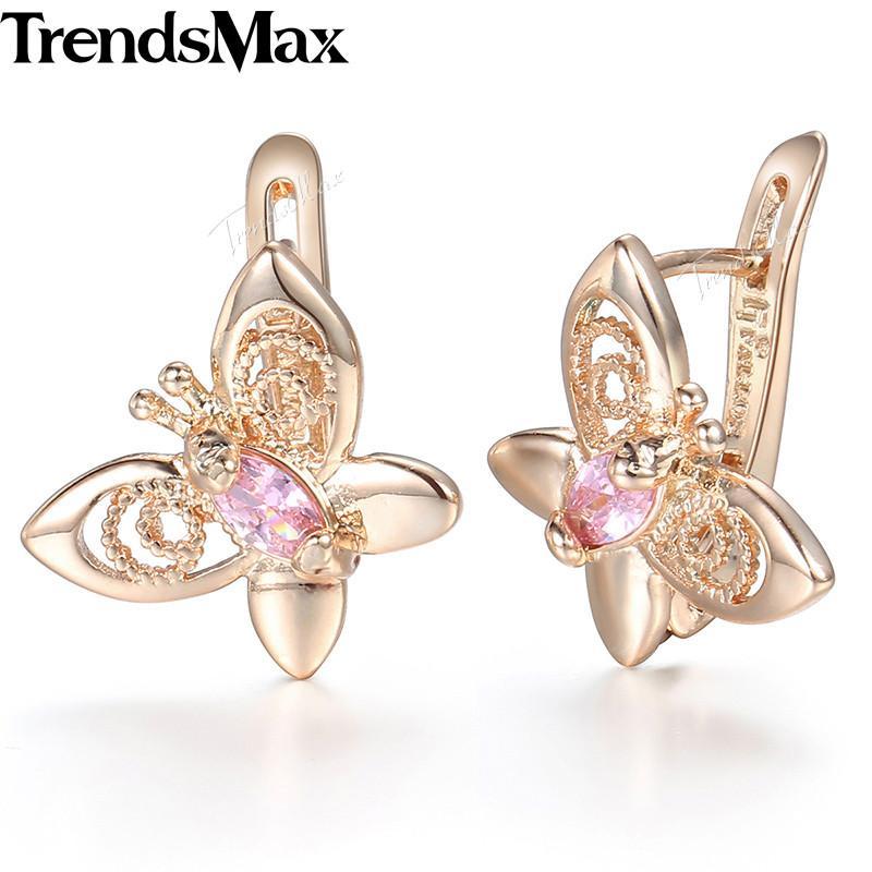 31bef4a6ffc7 Compre Pink Cubic Zircoina Animal Butterfly Pendientes Para Mujeres Niñas  585 Rose Gold Stud Pendientes Mujer Moda Regalos De La Joyería Kge67 A   11.37 Del ...