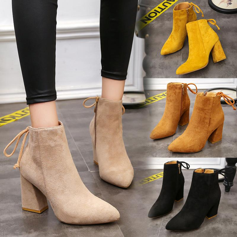 Autumn And Winter 2018 New Fashion Womens Martin Boots Europe America Style Thick  Heel High Heels Women S Shoes Sexy Bow Pointed Grey Boots Brown Ankle ... d2d462212efd