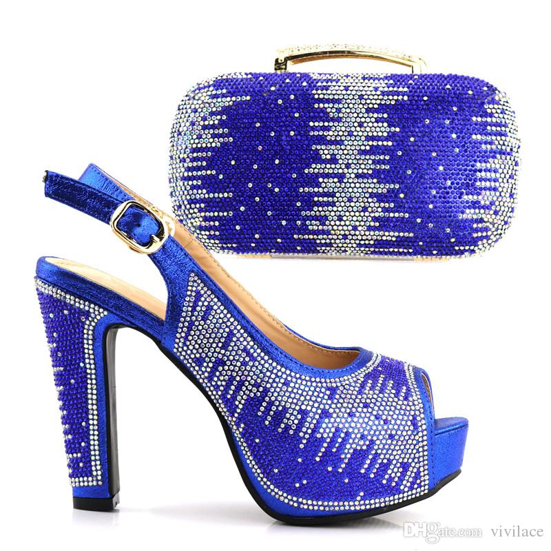 vivilace Nigerian Style Rhinestone High Heels Shoes And Bag Set Italian Design Shoes With Matching Bag Set For Wedding ME7716