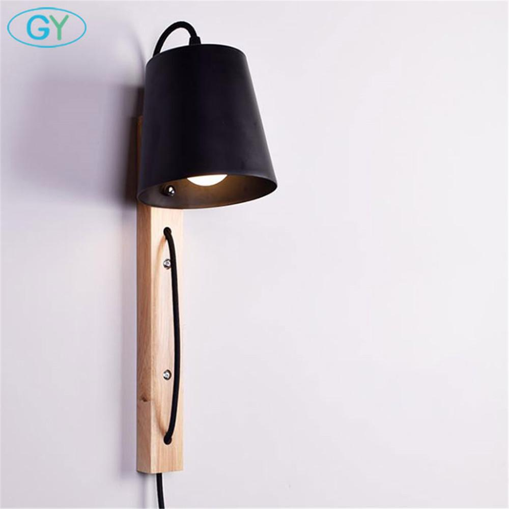 2018 Modern Wire Plug Wood Iron Wall Sconces E27 Led Lights For Wiring A From Light Fixture