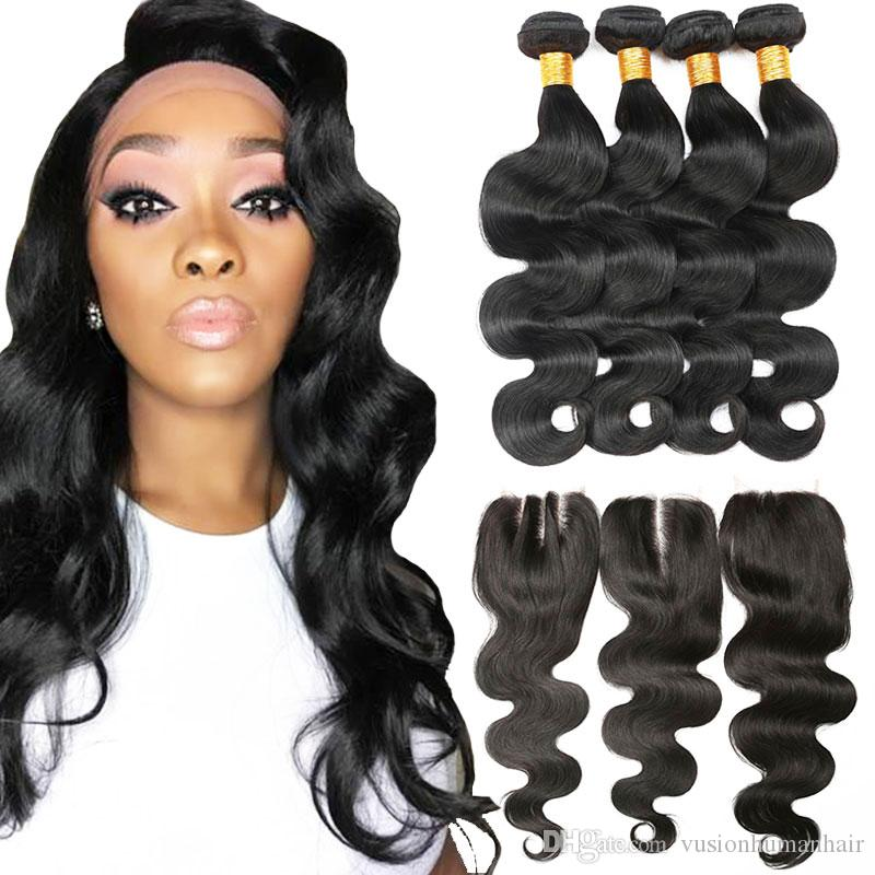 4 Bundles Body Wave Hair Weaves With Closure Unprocessed Wet And Wavy Mink  Brazilian Hair Wholesale Natural Black 7a Virgin Hair Brazilian Curly Hair  Weave ... ba337ad729