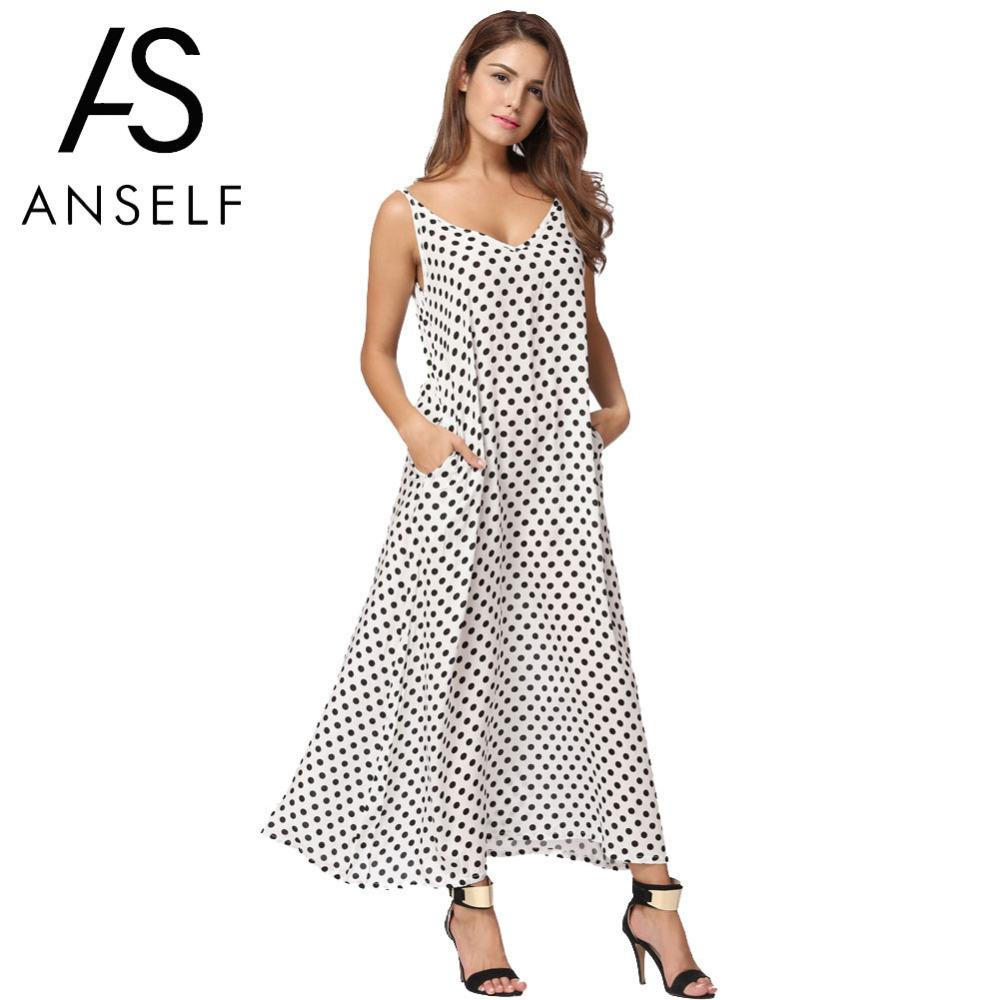 Anself 2018 Fashion Women S Polka Dots Maxi Dress Long Casual Summer Beach  Chiffon Party Dresses Robe Sexy Boho Dress Vestidos D1891301 Long Dresses  Women ... 86f140ef28b3