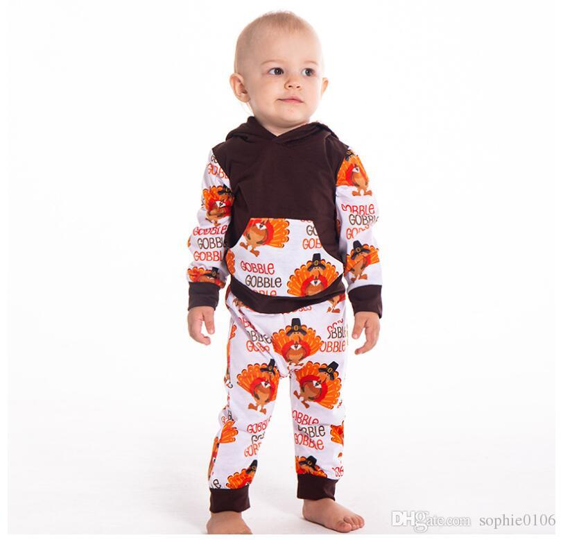 a4845a2736cb Boy Cartoon Turkey Printed Long Sleeve Set Baby Spring And Autumn ...