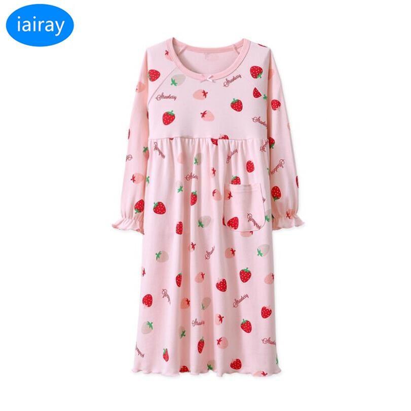 835f82d39e IAiRAY Kids Cotton Pajamas For Girls Sleepwear Children Nightgown Cherry  Print Pijamas Kids Nightdress Girl Sleeping Dress 2018 Girl Christmas  Pajamas Kids ...