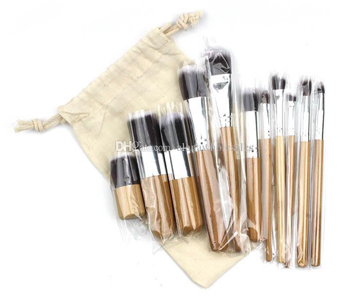 2020 Professional Makeup Brushes Set bamboo handle makeup brush+linen bag cosmetics brush kits tools 17.5*2.4cm