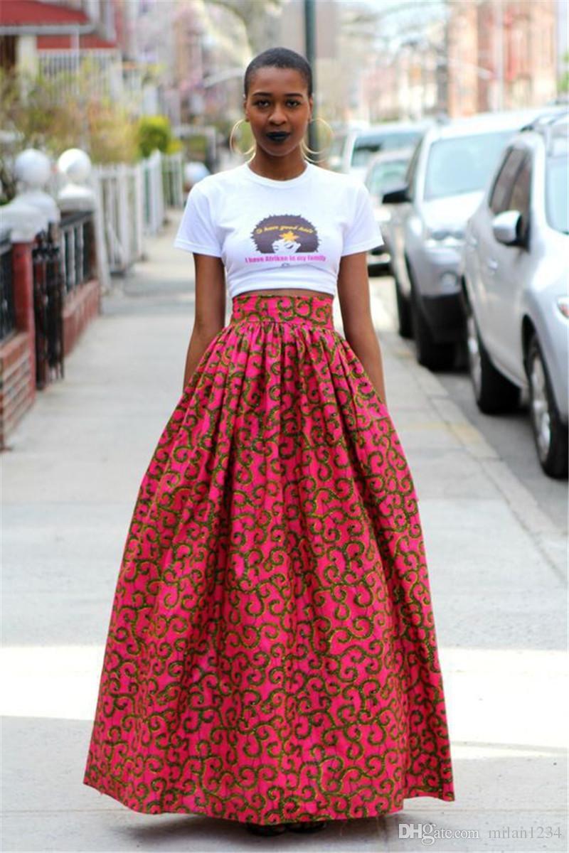 Maxi vestito floreale africano delle donne a vita alta una linea di gonne lunghe con tasche
