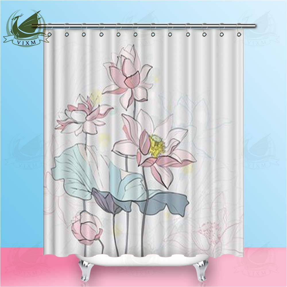2019 Vixm Home White Lotus Shower Curtain Pastoral Water Is Waterproof And Mildew Proof For Bathroom With Hooks Ring 72 X From Bestory 1665