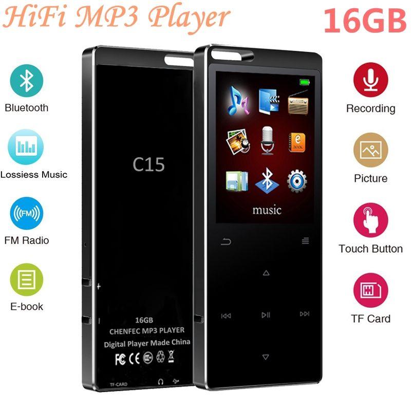 c359bd2f0af4 Compre Nueva Llegada 16 GB Botón Táctil Reproductor De Música MP3 Bluetooth Ultrafino  Pantalla De 1