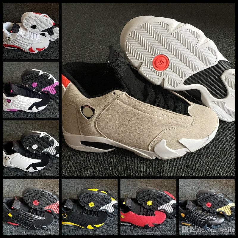 competitive price 6fd42 8c9d0 2019 14 XIV 14s Desert Sand Candy Cane Last Shot Mens Womens 2018  Basketball Shoes Trainers Pink Black Gold Red Toe DMP Designer Sneakers  From Weile, ...