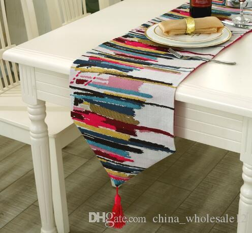 Fashion Modern Table Runner Colorful Nylon Jacquard Runner Table Cloth With  Tassels Cutwork Embroidered Table Runner Organza Table Runners Outdoor Table  ...