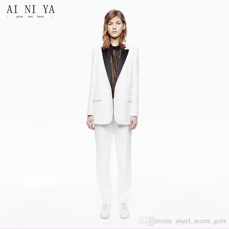 6924da4b61b Acheter Nouveau Blanc Business Femmes Pantalon Costumes Femme Pantalon  Costume Noir Revers Automne Hiver Pantalon Professionnel Avec Veste Et  Pantalon De ...
