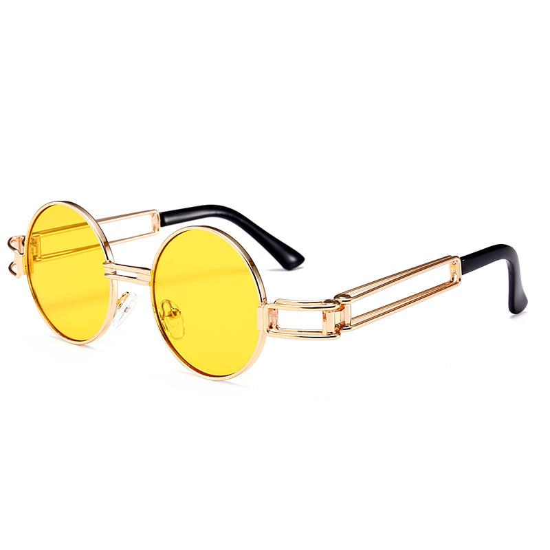 3ab7ae0496 2018 New Style Round Sunglasses Retro Red Yellow Golden Frame Steampunk  Round Metal SunGlasses For Men And Women Womens Sunglasses Sunglasses Sale  From ...