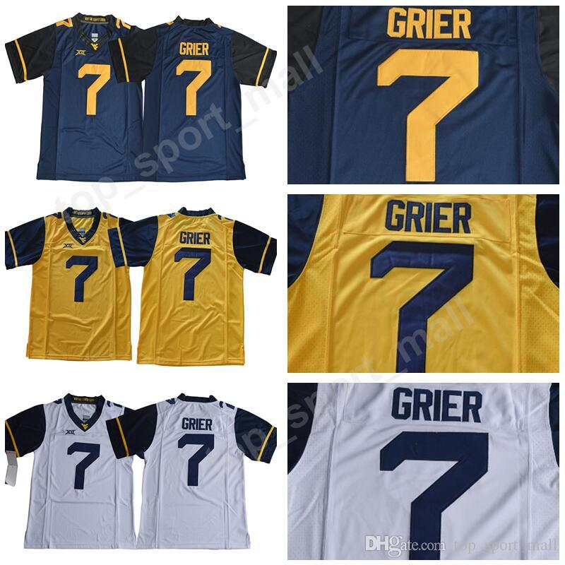 finest selection 5f77f 8d212 West Virginia Mountaineers NCAA College 7 Will Grier Jersey Men Football  Navy Blue Yellow White Stitched Big 12 XII University Size S-3XL
